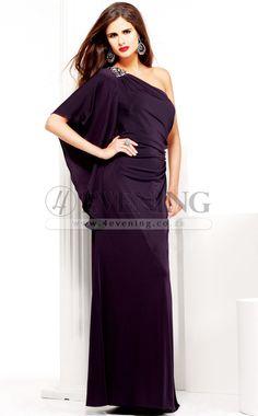 Stunning Grape One Shoulder Column/Sheath Evening Dress(JT4E-0054)