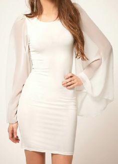 White Puff Sleeve Slim Bodycon Chiffon Dress