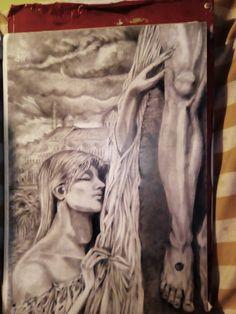 Maria Maddalena, passione, Cristo, matita, chiaroscuro, ritratto