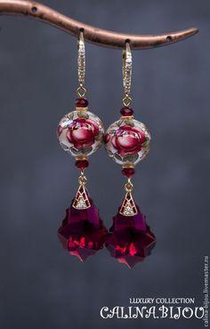 Купить Сваровски Серьги позолоченные с Тенша - золотой, красный, рубиновый, малиновый, бордовый, роспись #beadedjewelry