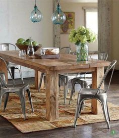 Rustic Dining Room Decorating Ideas With Rectangular Rustic Plank Dining Table Along With Black Glass Dining Chair And Green Glass Chandelie. & Rustic Dining Table pairs with Bentwood Chairs | house interior ...