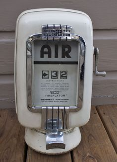 ANTIQUE Vintage Gas Station Art Deco Eco Model 97 Air Meter Tireflator Air Pump #Eco