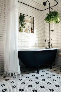 Master Bathroom Reveal with Claw Foot Tub - Nesting With Grace Clawfoot Tub Bathroom, Bathroom Renos, Bathroom Renovations, Master Bathroom Tub, Concrete Bathroom, Bathroom Showers, Bathroom Faucets, Vintage Tub, Vintage Bathrooms