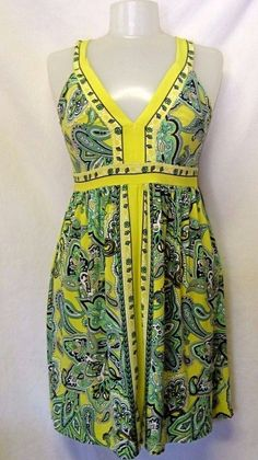 INC International Concepts Petite Stretch DRESS Sleeveless Yellow Paisley XS/S #INCInternationalConcepts #Sundress #Casual