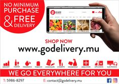 GoDelivery Mauritius: Free Delivery + No minimum purchase = www.godelivery.mu Us Supreme Court, Mauritius, Email Marketing, Free Delivery