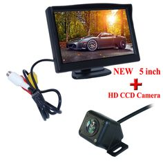 """5"""" car screen monitor with high quality bring 4 ir color hd ccd lens 170 degree car rearview camera adapt into various cars"""