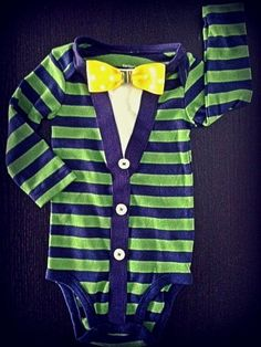 Baby Boy Cardigan onesie with Bow Tie  Preppy Modern look