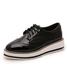 Promo Zoe Saldana 2017 PU Leather Spring Platform Sewing Lace Up Footwear Female Oxford Woman Shoes Brogue. Click visit to read descriptions