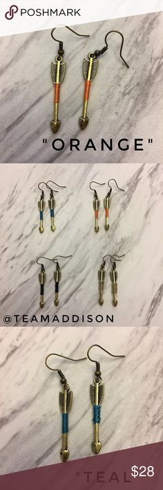 """Small Boho Arrow Earrings: 1 of each color ❤️ Price FIRM unless bundled 📦 Same day shipping {during post office hours}  All arrow charms are strung onto 21mm fishhook ear wires: all ear wires are non-plated nickel-free brass. Approximate length of arrow charms: just shy of 1.5"""" long. Total drop length: approximately 2"""". Each arrow earring has a colored section to add a pop of color to your look. Earrings are hand crafted and may have slight variations. Arrow charms are made of non-precious…"""