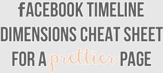 Cheat Sheet to get the size right for everything on your Facebook page! #facebook #socialmedia