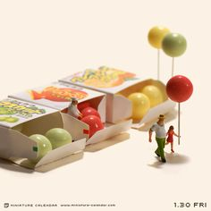 'Bubble gum balloon' For every day of the year, for the past four years, Japanese artist Tanaka Tatsuya has created miniature dioramas using everyday objects and…