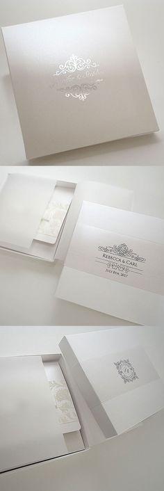 White & Silver Wedding Invitation Boxes wth Personalized Lid