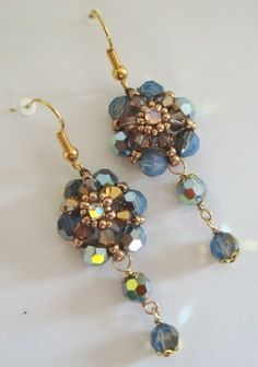 These earrings are so quick and easy to make! Not to mention, they are VERY sparkly! These are made with just a basic beadweave and simple loop wrapping. You do not need to know any kind of specific stitch in order to complete these earrings.
