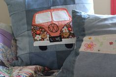Fun and whimsical! Custom made vintage VW Volkswagen Van Applique Pillow cushion cover.