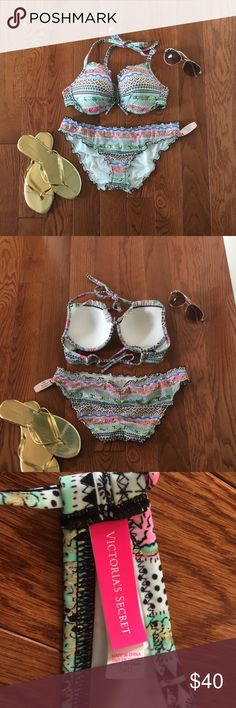 Victoria's Secret swim - ruffle bikini VS ruffle swimsuit underwire bikini. Top and bottom included but willing to sell separately upon request. Top is NWOT size 34D with underwire, and bottoms are NWT size M. *Top has adjustable straps (not hooks) for the neck and chest. Also has underwire and some padding. *Bottom has a slight ruched design on the back. Original price of top- approx $58 (not sure) Original price of bottoms- $22 Sunglasses and shoes NOT included. Victoria's Secret Swim…