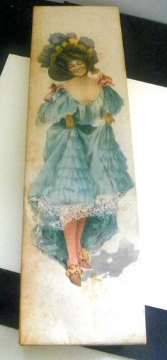 Empty Decorative Box Tie Box Craft Gift Paper Wrapped Cardboard Vintage Lady