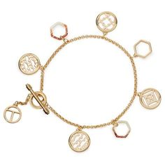 Tory Burch Perforated Charm Simple Bracelet ($150) ❤ liked on Polyvore featuring jewelry, bracelets, accessories, gold, disc pendant, charm jewelry, charm bracelet bangle, bracelet pendant and bracelet bangle