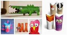 Ideas para hacer animales con rollos de cartón del papel higiénico. ¡Muy divertido para los niños! ;)