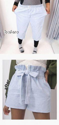 Super cute diy paperbag waist shorts! Thrift Store Outfits, Thrift Store Fashion, Thrift Stores, Diy Fashion Videos, Diy Fashion No Sew, Diy Fashion Outfits, Fashion Ideas, Fashion Art, Vintage Fashion