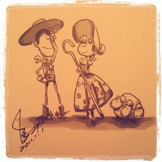ADORABLE sketch of Woody, Bo-Peep, and her sheep.