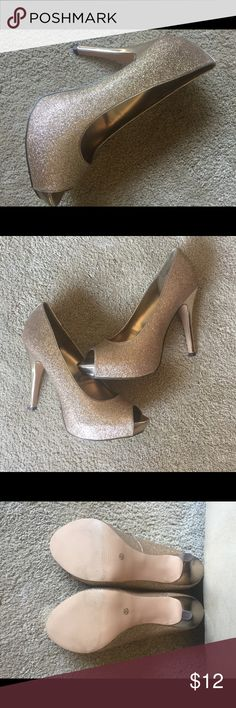 Shoes Gold Bling Bling peep toe Pumps Shoes Heels