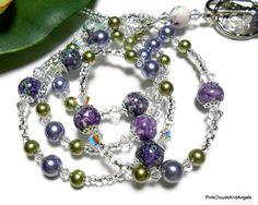 Purple Green Beaded Lanyard Id Necklace by PinkCloudsAndAngels