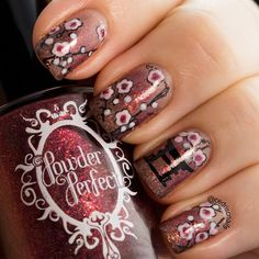 Cherry blossom nails using a gradient of three Powder Perfect polishes. Meet me in the glade, The Crossroads and Woodcutter. Stamps used were Emily de Molly EDM05 and Winstonia W114. Aussie Indie Polish