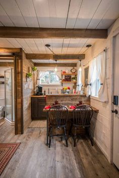 """Cozy Cabin """"Little Red Hen"""" by Magnolia, Baylor - Tiny houses for Rent in Waco, House interior, Tiny House Rentals, Shed Homes, Tiny Cottage, Rustic Cabin Kitchens, Cottage Interiors, Tiny Cabins Interiors, Small Cabin Kitchens, Cabin Interior Design"""