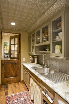 Kitchen with a Dutch door and pressed tin ceiling (via Old World Custom Home - eclectic - kitchen - phoenix - by Hillis Bolte Luxury Builders) Kitchen Dining, Kitchen Decor, Kitchen Ideas, Kitchen Inspiration, Kitchen Designs, Gally Kitchen, Dirty Kitchen, Beige Kitchen, Long Kitchen