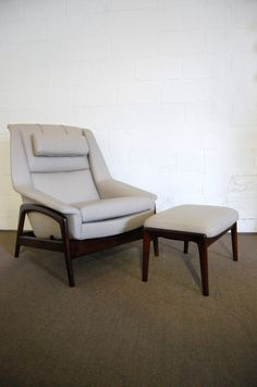 Folke Ohlsson; Leather and Teak Lounge Chair and Ottoman for Dux, c1960.