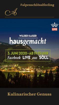 """Live auf Facebook: """"Wilder Kaiser Hausgemacht"""" Am Mittwoch, den 3. Juni um 19.15 Uhr ist es soweit: """"Wilder Kaiser Hausgemacht"""" bringt in einer Facebook-Live-Sendung all das zusammen, was den Ort Söll und die gesamten Region Wilder Kaiser ausmacht: Von der Musi bis zur Kulinarik!  #inechtnochschöner⛰ #wirsehenunsbald🙋 #alpenschlösslfeelsgood👑  #yoursecondhome🌄 #Lieblingsplatz🍀 #Wohlfühlmoment🙂 #Söllersunseitn🌞 #innaherferne👀  #Söllersun🌞 #Söllerfrischt🌞 #alpenschlösslfeeling🌞 Wilder Kaiser, Juni, Events, Facebook, Live, Brass Band Music, Wine Festival, Wednesday, Home Made"""