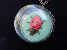 Mini Terrarium Cloche pendant with necklace, bronze, stocking stuffer for her, Lady Bird jewelry, Lucky beetle, Mini Lady Bug Jewelry, by Vidogo on Etsy