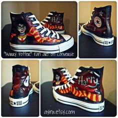 Custom Painted Fan art on hi tops Harry Potter / by AyinX on Etsy, Shirt Girls Shirt Collections Shirt Design Shirt DIY Harry Potter Converse, Harry Potter Shoes, Harry Potter Items, Harry Potter Outfits, Painted Fan, Painted Canvas Shoes, Hand Painted Shoes, Custom Converse, Custom Shoes