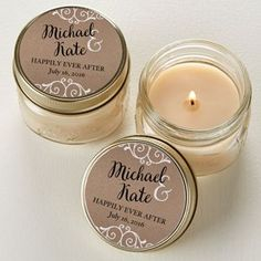 Create lasting Wedding memories with the Rustic Chic Wedding Personalized Mason Jar Candle Favors.