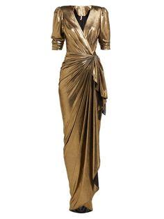 Maria Lucia Hohan Adelyn Metallic Wrap Maxi Dress In Gold Maxi Wrap Dress, Dress Skirt, Sexy Dresses, Dress Outfits, Eastern Dresses, Designer Evening Dresses, Evening Gowns, Draped Skirt, Outfit Combinations