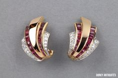 awesome Boucles d'oreilles en or et en platine  , diamants, rubis - Vers 1940