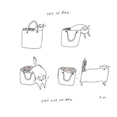 Cat in Bag Cat Out of Bag by jamieshelman on Etsy, $30.00