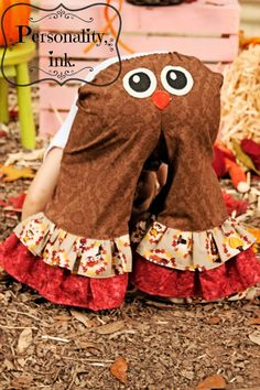 Appliqued+Thanksgiving+Owl+Ruffle+Pants++Girls+by+personalityink,+$45.00