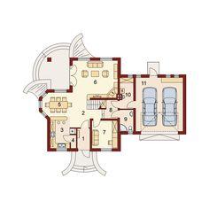 DOM.PL™ - Projekt domu DA Gracjan 2 CE - DOM DS2-11 - gotowy koszt budowy 2bhk House Plan, Loft Room, Spacious Living Room, Ground Floor, Concrete, Floor Plans, Dom, Homeland, Country