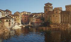 Building an Italian fishing village using conquest reforged : Minecraft Minecraft City, Minecraft Funny, Minecraft Plans, Minecraft Tutorial, Minecraft Blueprints, Minecraft Crafts, Minecraft Buildings, Minecraft Medieval Village, Minecraft Welten