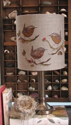 Embroidered wren lampshade