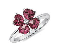 Rhodolite Garnet Flower Ring in 14k White Gold