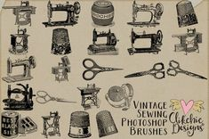 Sewing Photoshop Brushes by VectoriaDesigns on Etsy Couture brosses Photoshop par VectoriaDesigns sur Etsy Sewing Photoshop Brushes by VectoriaDesigns on Etsy Photoshop Brushes, Photoshop Elements, Papel Vintage, Vintage Paper, Vintage Pictures, Vintage Images, Sewing Tattoos, Sewing Clipart, Hand Lettering