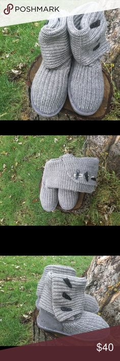Bearpaw grey woven cable knit tall size 10 in euc Bearpaw grey woven cable knit tall size 10  in euc price FIRM BearPaw Shoes Combat & Moto Boots