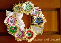 Beautiful Piano Roll Wreath by Kerry Lynn of Kenner Road (click on pic for tutorial)