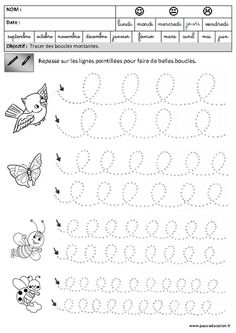 Boucles - Montantes - Graphisme – Maternelle – Grande section – GS - Pass Education - Tap the link to shop on our official online store! You can also join our affiliate and/or rewards programs for 4 Year Old Activities, Fine Motor Activities For Kids, Preschool Learning Activities, Music Activities, Preschool Crafts, Free Kindergarten Worksheets, Tracing Worksheets, Free Printable Worksheets, Worksheets For Kids