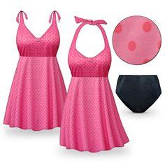 Customizable Pink Polka Dots Print Halter or Shoulder Strap 2pc Plus Size Swimsuit/SwimDress