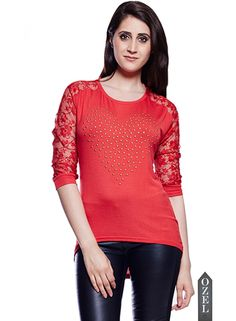 Studded Heart and Love Lace Top-Red by Collezioni Moda