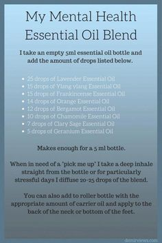 I like the combo of oils, but this would be REALLY strong for a bottle. Using my doTERRA oils, I would dilute much further. Essential Oils For Depression, Essential Oils For Anxiety, Essential Oils Guide, Essential Oil Uses, Doterra Essential Oils, Essential Oils Energy, Stress Relief Essential Oils, Yl Oils, Sent Bon