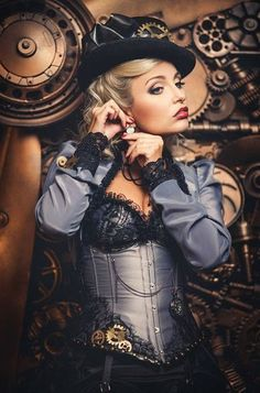 Steel Blue Steampunk Woman - For costume tutorials, clothing guide, fashion inspiration photo gallery, calendar of Steampunk events, & more, visit SteampunkFashionGuide.com